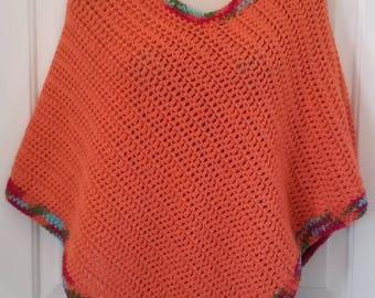 Poncho - Orange, Turquoise, Olive and Metallic Pink