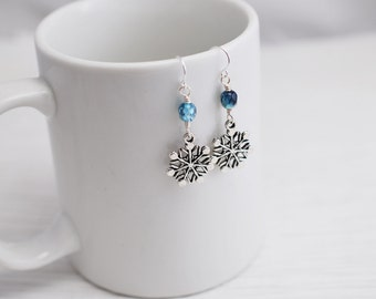 Snowflake Earrings, Snowflake Charm Earrings, Blue Earrings, Silver and Blue, Dangle Earrings, Winter Earrings, Gift for Her, Charm Earrings