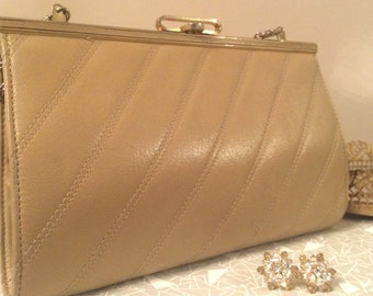 vintage leather tan clutch european