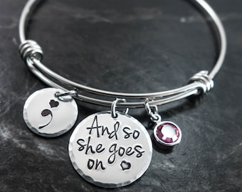 Semicolon Jewelry / And so she goes on / Wire Bangle / Semicolon Bangle / Suicide Awareness / Personalized Bangle / Hand Stamped