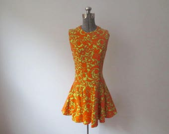 RESERVED! Vintage '60s Mod Bright Orange, Fitted, Sleeveless, Drop Waist, Flared Skirt Dress, XS, 32 Inch Bust