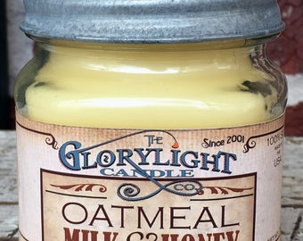 OATMEAL MILK and HONEy Mason Jar Soy Candle, Hand Poured, Gift, Home Decor, Made in the USA