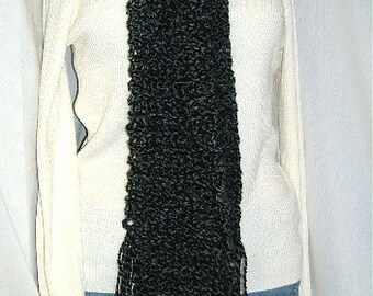 Black Scarf, Extra Long, 115 Inches, Goth, Oversize, Chunky, Mans, Womans, Sherlock, Bohemian, Cowl, Crochet, Neckscarf, Steampunk, Handmade