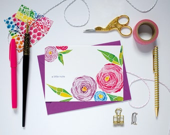 Watercolour Floral Notecard. Floral Notecard. Cute Greeting Card. Hand painted Note Card.