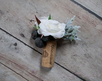Wine Cork Boutonniere - White Rose and Berry Wedding Boutonniere with Dusty Miller