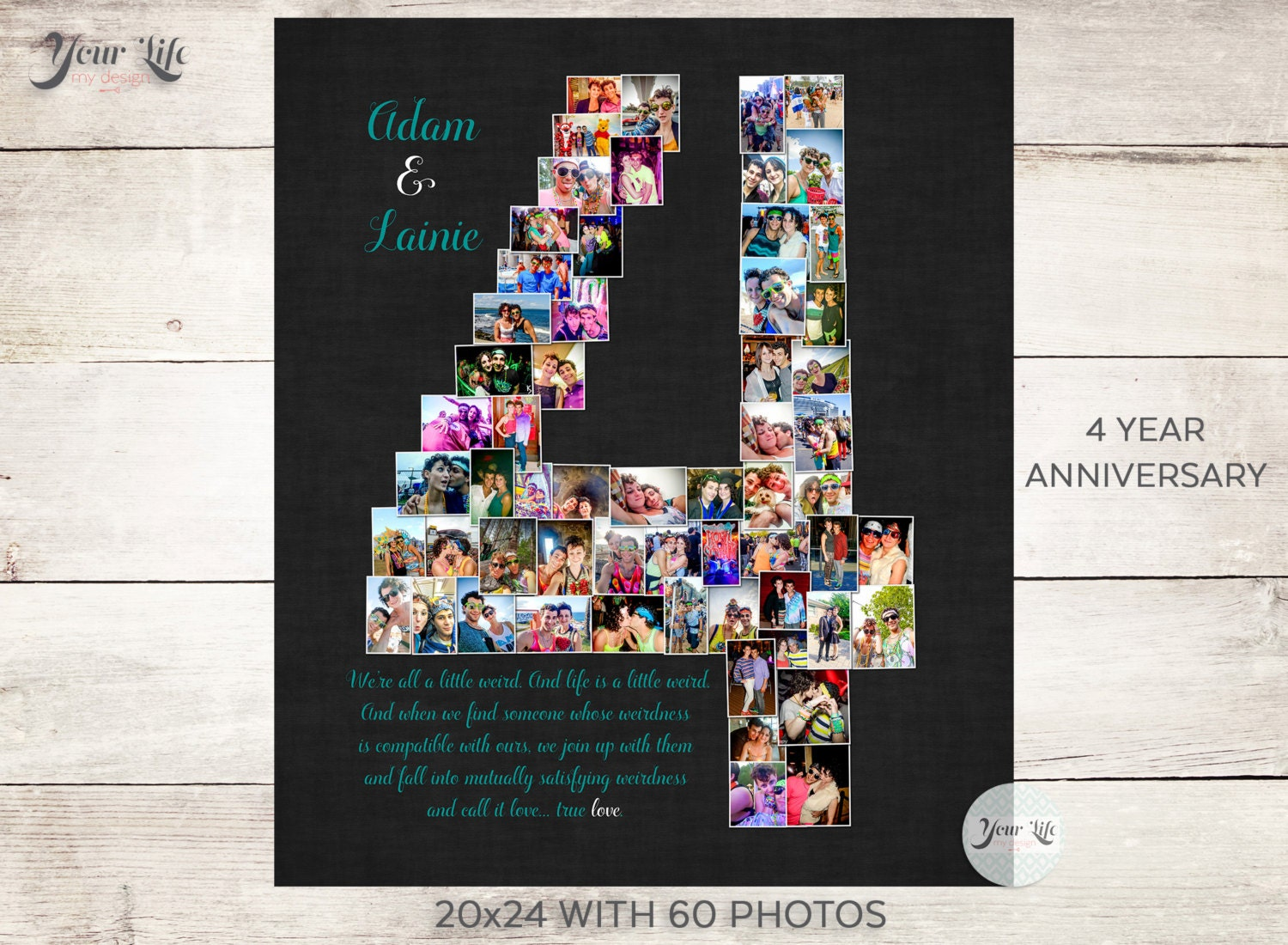 4th Wedding Anniversary Gifts For Husband: 4 YEAR ANNIVERSARY 4th Anniversary Gift Photo Collage 4th