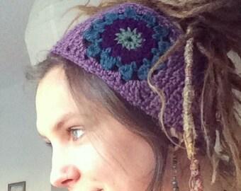 Purple Crochet Sunflower Dreadband, Headband, Dread Wrap, Hair band