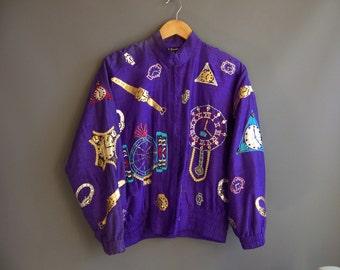 1980s clocks and watches hiphop jacket applique jacket bomber jacket 80s jacket 1980s hiphop 80s hiphop vintage hiphop jacket novelty jacket