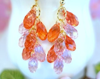 Light pink and carmine pink Swarovski crystal gold filled chandelier earrings, Mother's Day fuschia pink cluster chandelier gold earrings