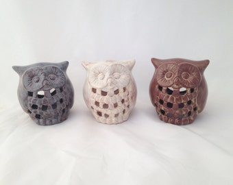 Ceramic Owl Candle Tealight Votive Holder - Cream and Brown
