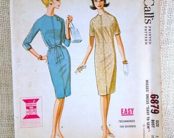 McCall's 6879 vintage sewing Pattern dress Raglan sleeve Shift Mod dress 1960s beatnik Sack Bust 32