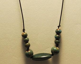 Handmade Ceramic Bead Adjustable Necklace