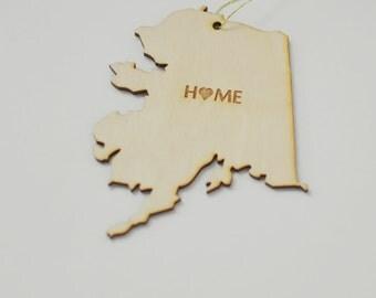 Natural Wood HOME Alaska State Ornament