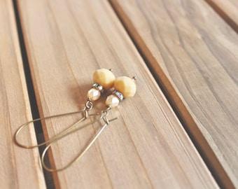 Butter yellow bead, rhinestone, and pearl bead drop earrings, kidney wire earrings