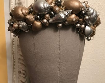 Sirens Treasure Crown - Gold and silver Ocean sea shells rhinestones gems crystals beads glitter pearls headdress headpiece