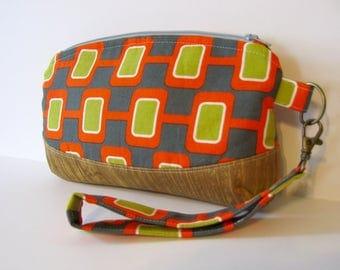 Mid Century Atomic Print Cotton and Wood Grain Zipper Clutch Wristlet Bag