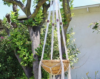 Large Macrame Hanging Basket, Vintage Handmade White,Tan Brown Cotton Rope, Wicker, Decorative Storage, Bedside, Folk Art, Boho Decor 420135