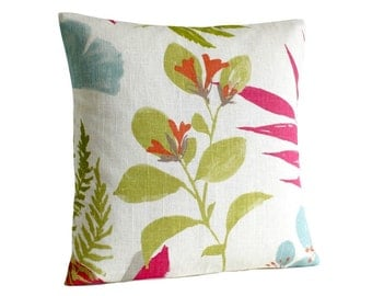 Floral pillow cover, 16x16 cushion cover, linen cotton pillow cover - Wildwood Raspberry
