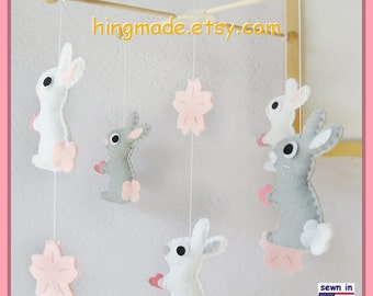 Baby Mobile, Baby Crib Mobile, Bunny Mobile, Rabbit Mobile, Baby Girl Mobile, Cherry Blossom Bedding, Pink Grey White