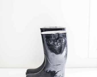 high calf black rain boots with buckles - women's size 9