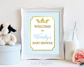 Prince Baby Shower Welcome Sign, Light Blue and Gold Prince Personalized Shower Welcome Sign, DIY PRINTABLE