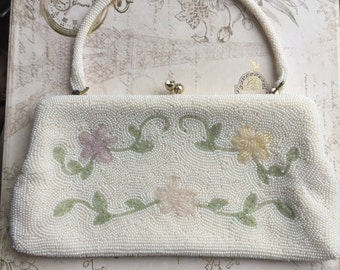 Vintage Seed Bead Floral Evening Clutch with optional Handle, Estate Purse 1960's