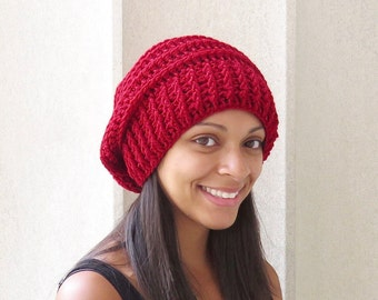 Crochet Slouchy Hat, Tam Hat, Ribbed Hat, Beehive Hat, Crochet Hat, Color is Orandberry