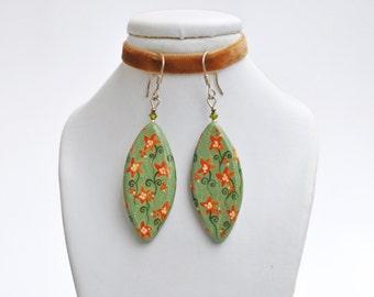 Handpainted chaki flower earrings (ready to ship)