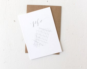 Card with Envelope: Soho Map, Calligraphy