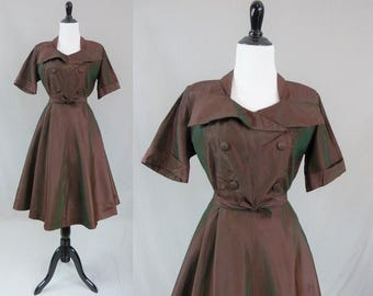 50s Taffeta Dress - Red Green Stripes Checks - Afternoon Dress - Full Skirt - Vintage 1950s - M