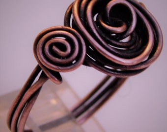 Copper Rosette Ring, Antique Copper Rose Ring, Rose ring, Copper rosette spiral ring, vintage copper rosette ring, spiral copper rose ring