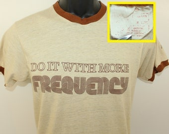 Sony Recording Tape Do It With More Frequency vintage ringer t-shirt Small beige brown 70s 80s