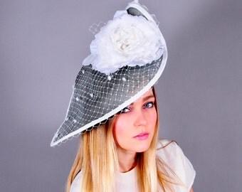 Kentucky Derby hat,  fascinator, white rose fascinator, fashion hat