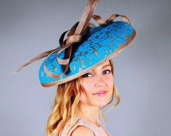 Kentucky Derby hat, Turquoise green hat, lace hat, large brim hat, wedding hat, fascinator