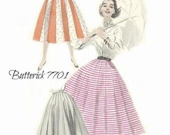 Butterick 7701 Skirt Pattern, Umbrella Skirt 1950s Waist 26 FF