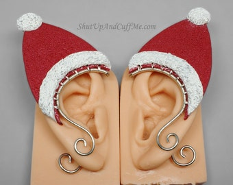 Santa Hat Elf Ear Cuffs, Red and White Elf Hat, Ear Wrap, Ear Cuff, Holiday Jewelry, Christmas, Elf Ear Wrap, Polymer Clay Elf Ears - PAIR
