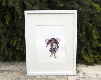 Dachshund Dog Watercolor Print, Wiener Dog Wall Art, Sausage Dog Art, Doxie Art - 8x10