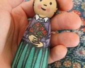 """Wood Peg Doll Girl with Flowers -watercolored large size 3.5"""""""