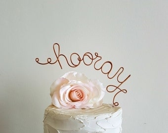 HOORAY Wedding Cake Topper Banner, Rustic Wedding Cake Topper, Custom Wedding Decoration, Shabby Chic Wedding Cake Decoration, Garden Party