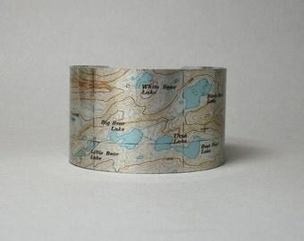 Bear Lakes Basin John Muir Wilderness Cuff Bracelet California Map Hiking Gift for Hiker Backpacker