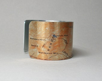 Appalachian Trail Grafton Loop Maine Old Speck Pond Slide Mtn Sunday River Map Cuff Bracelet Hiking Gift