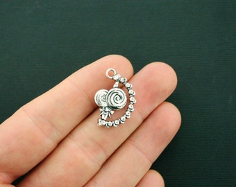 4 Lollipop Charms Antique Silver Tone 3D Details Rotating Charm - Really Spins! - SC6395