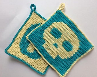 Crochet Skull Pot Holders/Hot Pads - Blue and Pale Yellow Colour