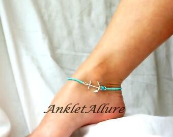Anchor Anklet Teal Beach Ankle Bracelet Beach Anklet Teal Bikini Accessories