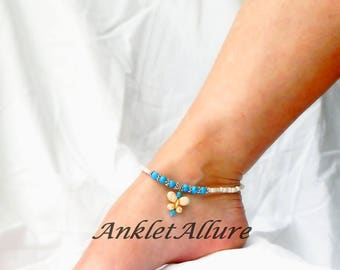 Butterfly Anklets Turquoise Ankle Bracelet Turquoise Anklet Butterfly BoHo Anklet Body Jewelry