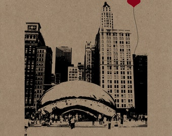 The Bean in Chicago Poster Print on Kraft Chipboard