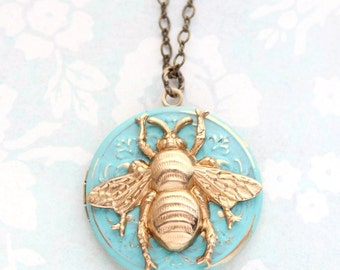 Bee Locket Necklace Raw Gold Brass Aqua Patina Insect Wings Pendant Bumble bee jewelry Picture Photo Locket Honey Bee Lover Summer Garden