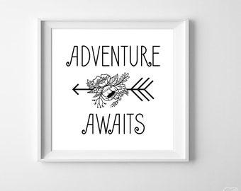 Adventure Awaits Art Print, Boho Girl Nursery Flower Arrow Wall Art, Black White Nursery Decor, Adventure Typography, Bohemian Nursery Art