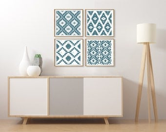 Ikat Wall Art, Southwestern Artwork Set of 4 Square Prints, Muted Teal Wall Art, Dining Room Art Set Blue Bedroom Wall Art Ikat Tribal Aztec