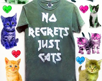 Custoizable No Regrets Just Cats T-shirt or Tank Top